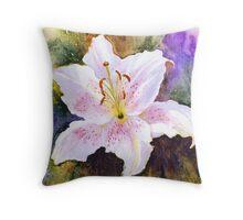 "Lily ""Muscadet"" (Lilium Orientalis Muscadet) Throw Pillow"