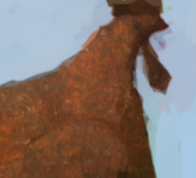 Painting of a rusty red chicken on blue Sticker