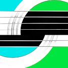Geometric Guitar Abstract II in Turquoise Green Black White by Natalie Kinnear