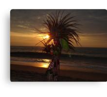 Aztec Worrior Dancing For The Sun - Guerrero Azteca Bailando Por El Sol Canvas Print