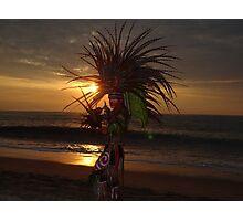 Aztec Worrior Dancing For The Sun - Guerrero Azteca Bailando Por El Sol Photographic Print