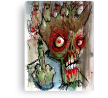 zombie gives the finger Canvas Print