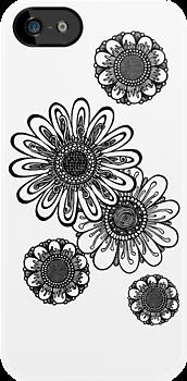 Inked Gerber Daisies by Ameda Nowlin