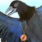 the Messenger black crow with compass painting by Veera Pfaffli