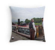 Nattering on the towpath with Narrowboat President Throw Pillow