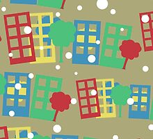 seamless pattern with cartoon town by Marishkayu