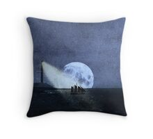 Across The Sea A Pale Moon Rises Throw Pillow