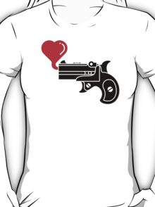 Pistol Blowing Heart Bubbles T-Shirt