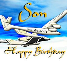 Virgin Galactic - Space Tourists - Happy Birthday Son card by Dennis Melling
