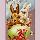 Easter Card-Two Bunnies with Egg by Yesteryears
