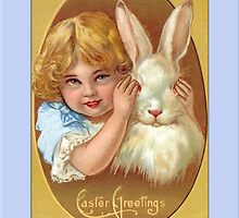 Easter Greetings-Little Girl with Bunny by Yesteryears