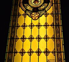 Golden window in Greve by Karen E Camilleri