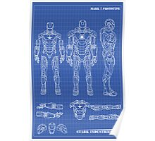 Iron Man Mark 7 Blueprints Poster