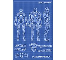 Iron Man Mark 7 Blueprints Photographic Print