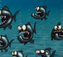 Shoal of Daft Piranha with old Duffer Fish Sticker