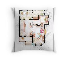 The House from UP - Ground Floor Floorplan Throw Pillow