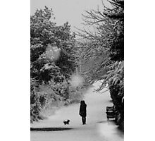 Dog walker in the snow (Eastbourne, 2013) Photographic Print