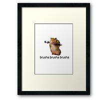 cute baby hamster brush your teeth - brusha brusha  Framed Print