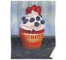 Mad Blueberries Cupcake Poster