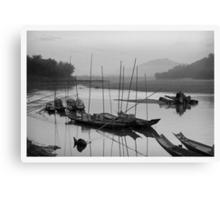 Life at Mae Khong river in sunset Canvas Print