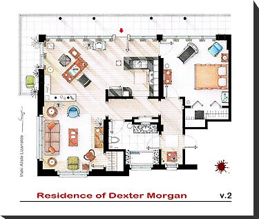 Floorplan of the apartment of Dexter Morgan v.2 by Iñaki Aliste Lizarralde