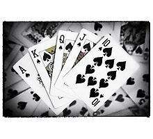 Playing Cards Royal Flush with Digital Border and Effects Photographic Print