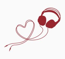 I love music, headphone with red heart by beakraus
