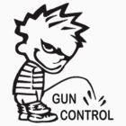 Boy Peeing on GUN CONTROL by Tony  Bazidlo