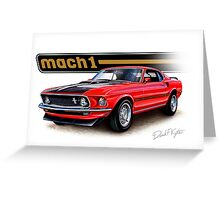 1969 Mustang Mach 1 in Red Greeting Card