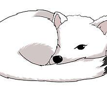 Sleepy Arctic Fox by Jen Coutu