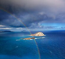 Rainbow over Rabbit and Flat Island by Alex Preiss