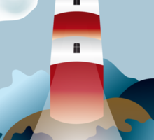 Lighthouse lights on over the unsteady sea Sticker