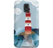 Lighthouse lights on over the unsteady sea Samsung Galaxy Case/Skin