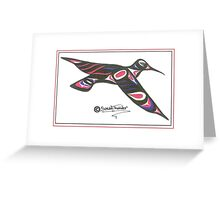 red and blue humming bird Greeting Card