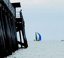SKIFF BY LARGS JETTY-LARGS BAY by JAMES LEVETT