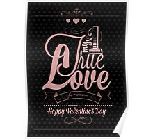 Happy Valentine's Day Hand Lettering - Typographical Background Poster