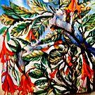 Bluebird, Moon, 2 Hummingbirds Caught in Tapestry Vines by Barbara Sparhawk