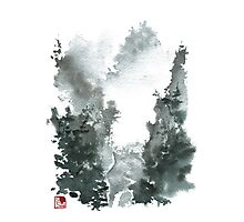 Misty Valley Traditional Chinese Landscape Photographic Print