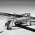 B/W P51C Mustang WWII Fighter Plane by Chris L Smith