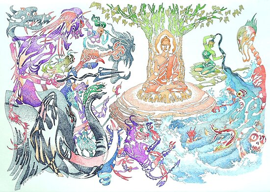 The fight of BUDDHA / pen by jatujeep