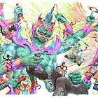 Tossakan vs Hanuman and Monkey team mix / pen by jatujeep