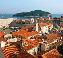 Dubrovnik Sunny Afternoon Panoramic View with The Harbor by kirilart