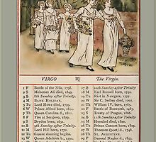 Greetings-Kate Greenaway August Almanac Page by Yesteryears