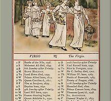 Greetings-Kate Greenaway August Almanac Page by Yesteryears