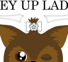"""the yorkshire terrier says """"EY UP LAD"""" Sticker"""