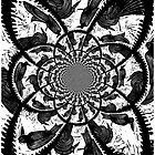 Kaleidoscope Black Birds Original Hand Pulled Linoleum Print by KFStudios