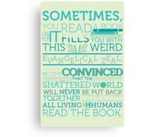tfios - Sometimes you read a book... Canvas Print