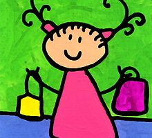 Happi Arti 5 - Shopaholic Little Girl Art by Sharon Cummings