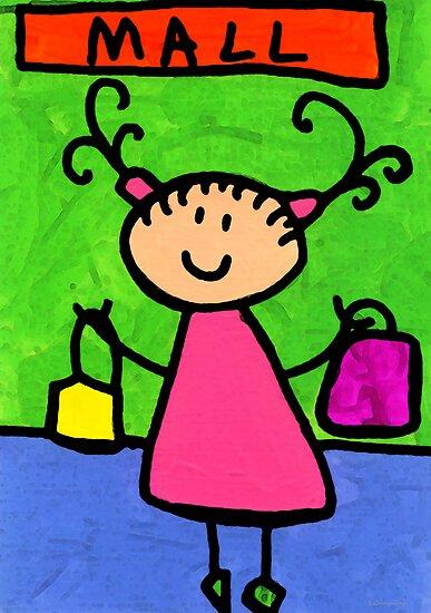 Happi Arti 5 - Shopaholic Little Girl Art by Sharon Cummings