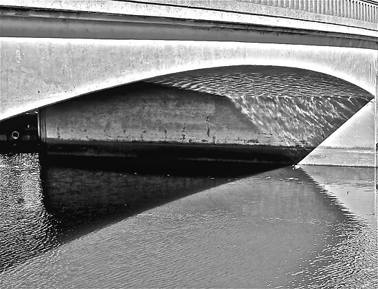 Capitola Bridge In Black and White by Scott Johnson